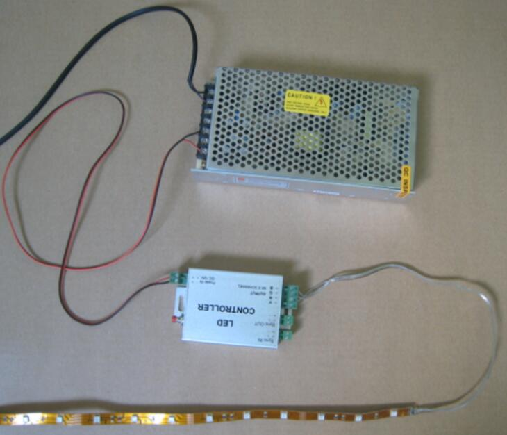 how to LED strip with controller and power supply