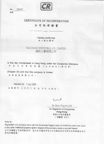 Certification Of Company Registration