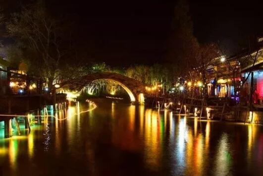 led light along night riverbank2